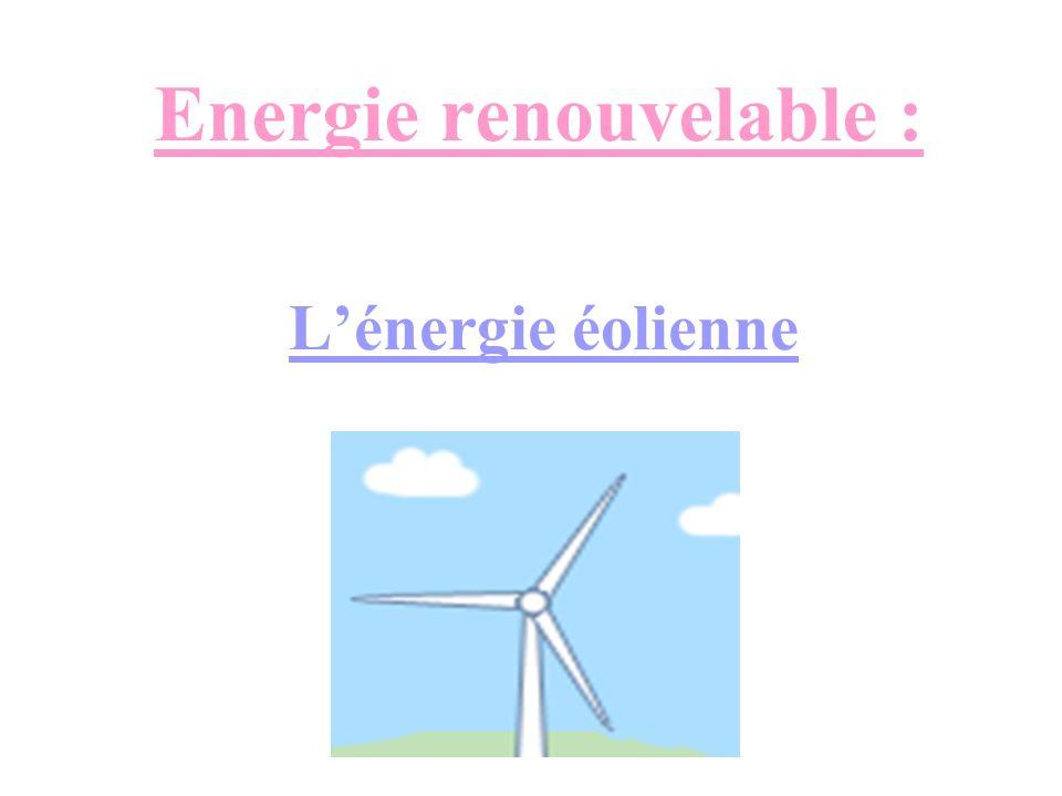 Lénergie éolienne est lénergie du vent et plus spécifiquement, lénergie tirée du vent au moyen dun dispositif aérogénérateur ad hoc comme une éolienne.