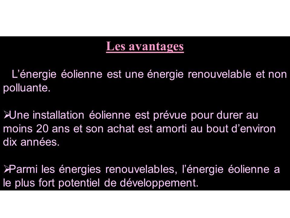 Les avantages Lénergie éolienne est une énergie renouvelable et non polluante.