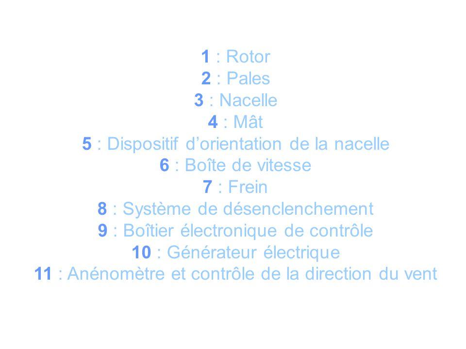 1 : Rotor 2 : Pales 3 : Nacelle 4 : Mât 5 : Dispositif dorientation de la nacelle 6 : Boîte de vitesse 7 : Frein 8 : Système de désenclenchement 9 : Boîtier électronique de contrôle 10 : Générateur électrique 11 : Anénomètre et contrôle de la direction du vent
