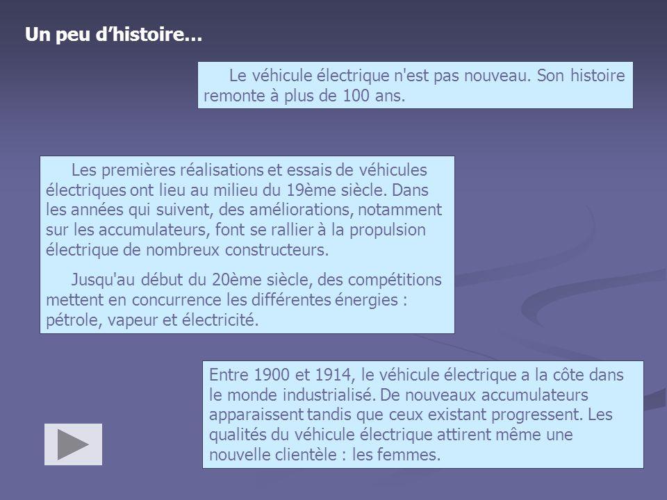 Un peu dhistoire… Le véhicule électrique n'est pas nouveau. Son histoire remonte à plus de 100 ans. Les premières réalisations et essais de véhicules