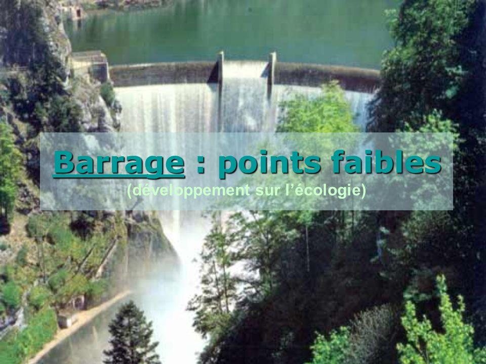Barrage : points faibles Barrage : points faibles (développement sur lécologie)