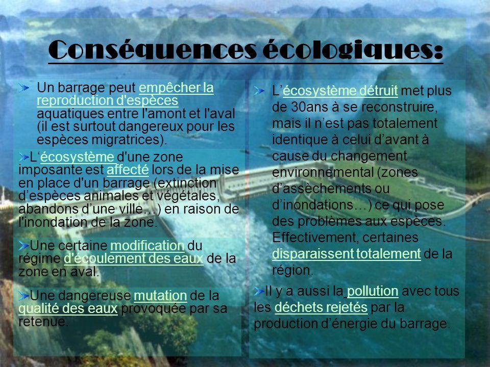 Conséquences écologiques: Un barrage peut empêcher la reproduction d espèces aquatiques entre l amont et l aval (il est surtout dangereux pour les espèces migratrices).