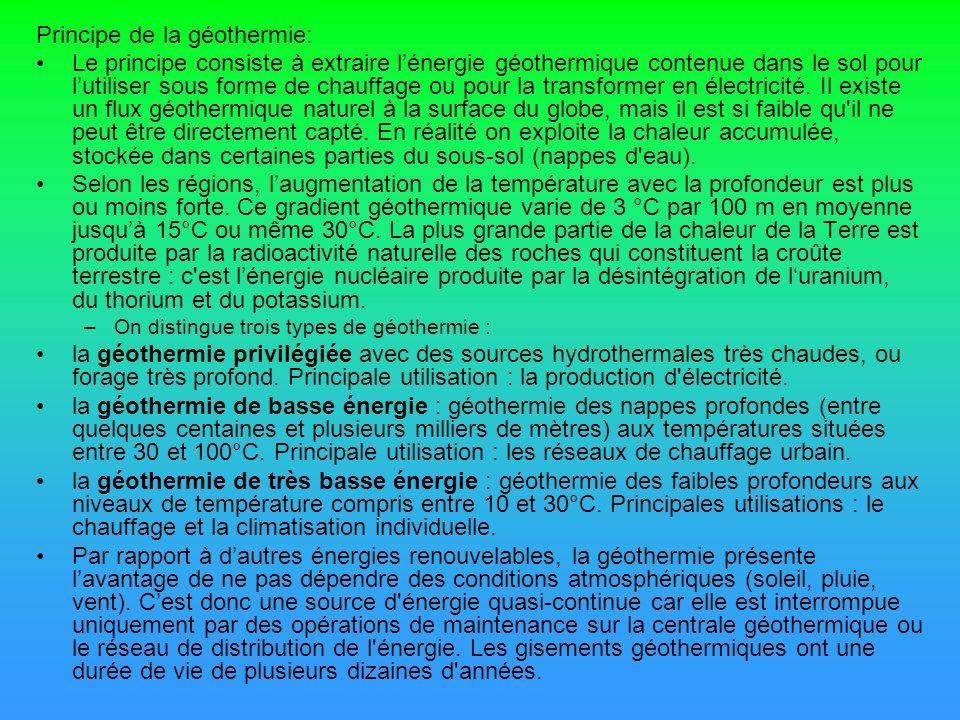 Principe de la géothermie: Le principe consiste à extraire lénergie géothermique contenue dans le sol pour lutiliser sous forme de chauffage ou pour l