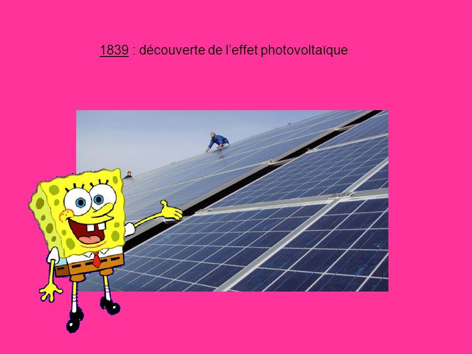 1839 : découverte de leffet photovoltaïque