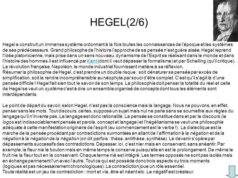 Hegel a construit un immense système ordonnant à la fois toutes les connaissances de l'époque et les systèmes de ses prédécesseurs. Grand philosophe d