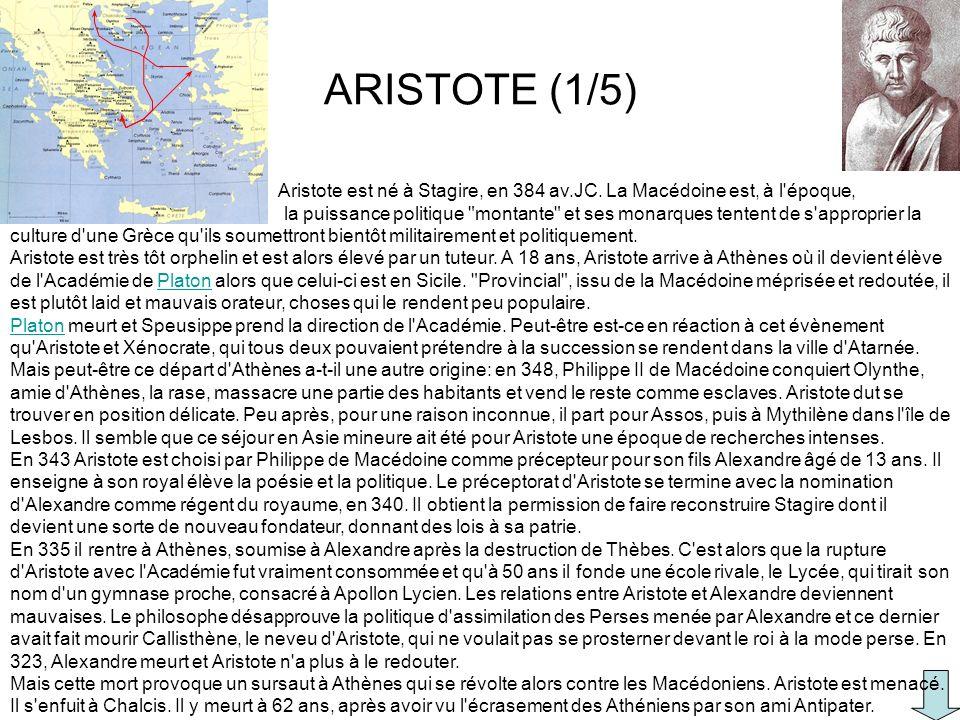 ARISTOTE (1/5) Aristote est né à Stagire, en 384 av.JC. La Macédoine est, à l'époque, la puissance politique