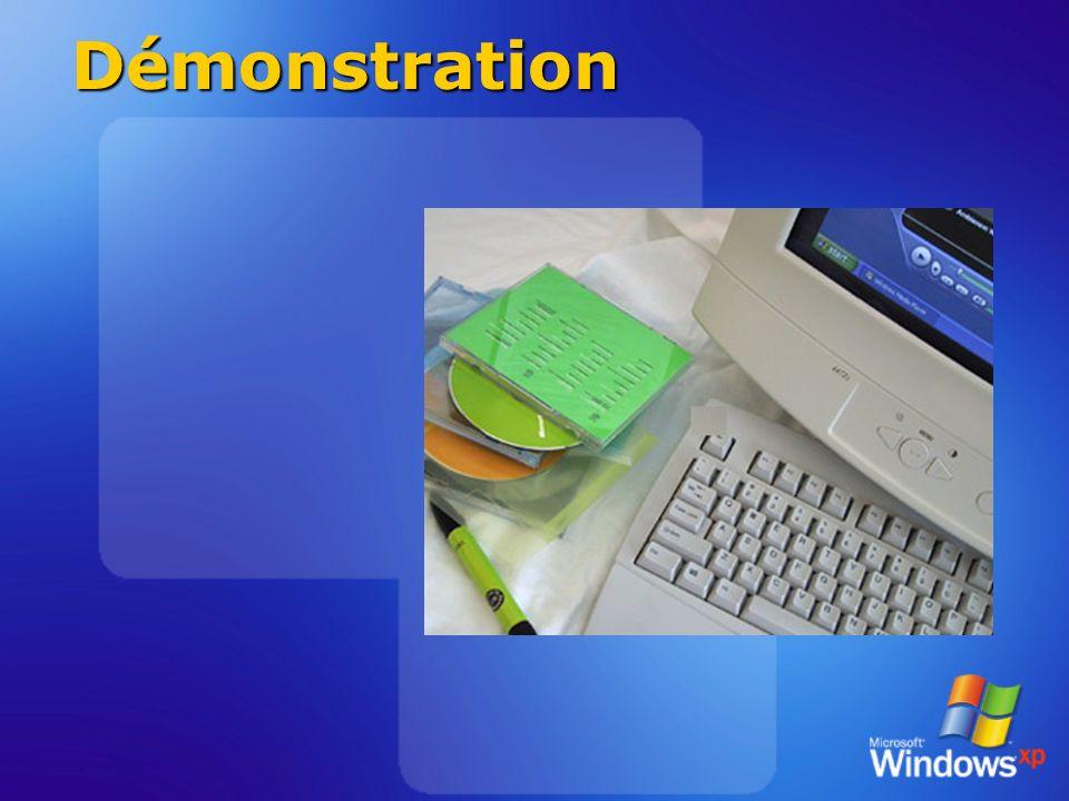 Comparaison des lecteurs Fonctionnalité Windows MPXP RealPlayer 8 RealJukebox 2 QuickTime 5 pour Windows WinAmp 2.7x Lecture de DVD avec infos multimédia OuiNon Contrôle vidéo plein écran OuiNon Fenêtre vidéo redimensionnable Oui NonOuiNon Juke-box intégré OuiNonOuiNon Suivi intelligent du support OuiNon Prise en charge du codage et de la lecture WMA8 et MP3 OuiNonWMA7 et MP3 NonLecture uniquement Prise en charge de la lecture WM Video 8 OuiNon Oui Édition des balises WMA et ID3V2 OuiNonOuiNonOui Gravure CD audio/vitesse limite Oui / illimitée NonOui /2xNon Lecture de flux WMA et MP3 OuiMP3 uniquement NonYesMP3 uniquement Guide média intégré OuiYesLimitéYesLimité Modèles d interface XML OuiNon Prise en charge DRM intégrée OuiModule complémen- taire NonOui via WM Disponible dans plus de 25 langues OuiNon