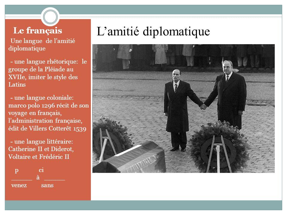 Le français - Une langue de lamitié diplomatique - - une langue rhétorique: le groupe de la Pléiade au XVIIe, imiter le style des Latins - - une langu