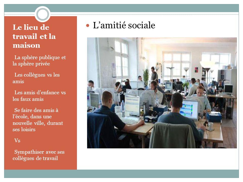 Le lieu de travail et la maison - La sphère publique et la sphère privée - Les collègues vs les amis - Les amis denfance vs les faux amis - Se faire d