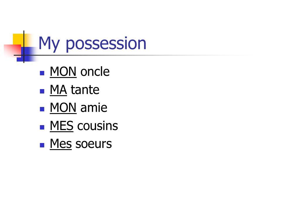 My possession MON oncle MA tante MON amie MES cousins Mes soeurs