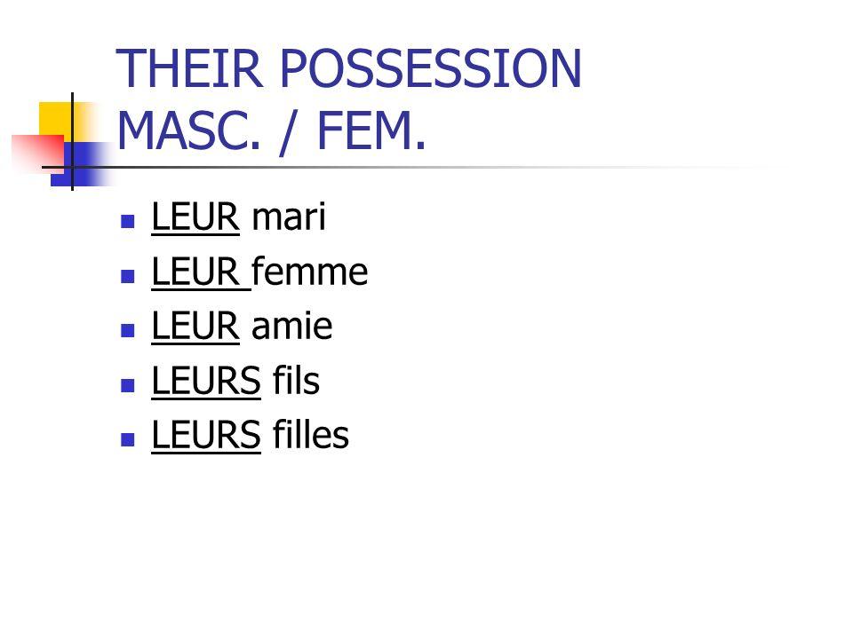 THEIR POSSESSION MASC. / FEM. LEUR mari LEUR femme LEUR amie LEURS fils LEURS filles