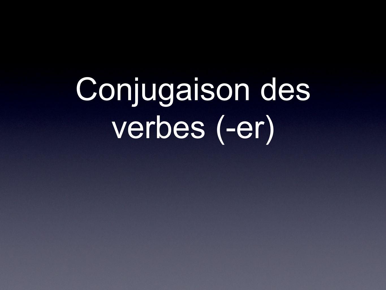 Terminaison des verbes réguliers Pour les verbes qui termine avec -er (comme aimer, passer, étudier), vous devez substituer -er pour -e, -es, -e, -ons, -ez,-ent.