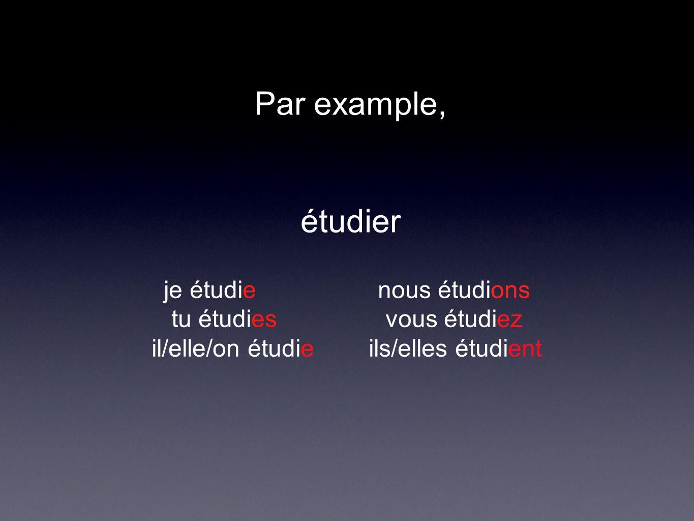 Par example, étudier je étudie nous étudions tu étudies vous étudiez il/elle/on étudie ils/elles étudient