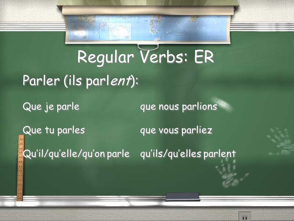 Regular Verbs: ER Parler (ils parlent): Que je parleque nous parlions Que tu parlesque vous parliez Quil/quelle/quon parlequils/quelles parlent Parler
