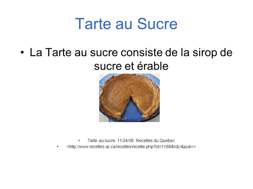 Tarte au Sucre La Tarte au sucre consiste de la sirop de sucre et érable Tarte au sucre. 11/24/08. Recettes du Quebec