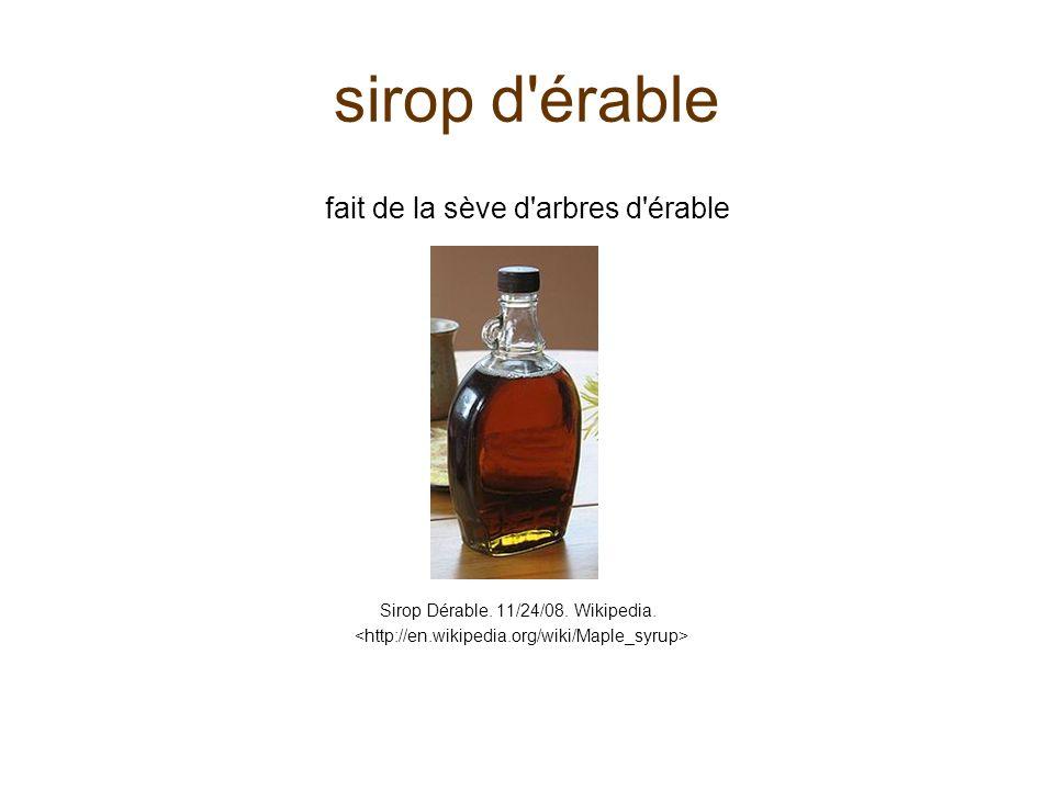 sirop d'érable fait de la sève d'arbres d'érable Sirop Dérable. 11/24/08. Wikipedia.