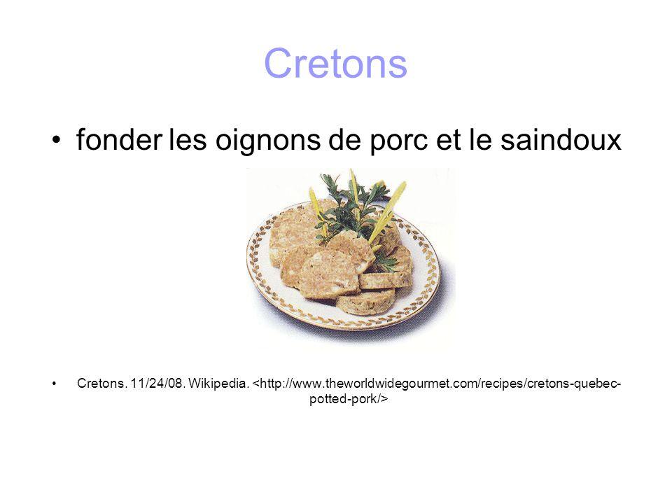 Cretons fonder les oignons de porc et le saindoux Cretons. 11/24/08. Wikipedia.