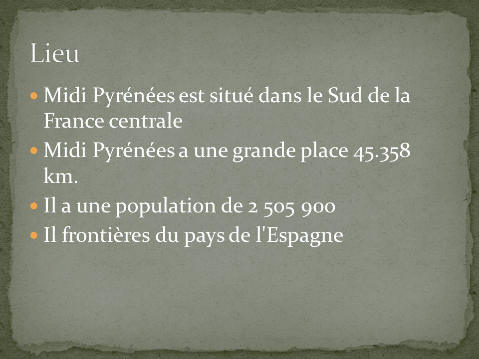 Midi Pyrénées est situé dans le Sud de la France centrale Midi Pyrénées a une grande place 45.358 km.