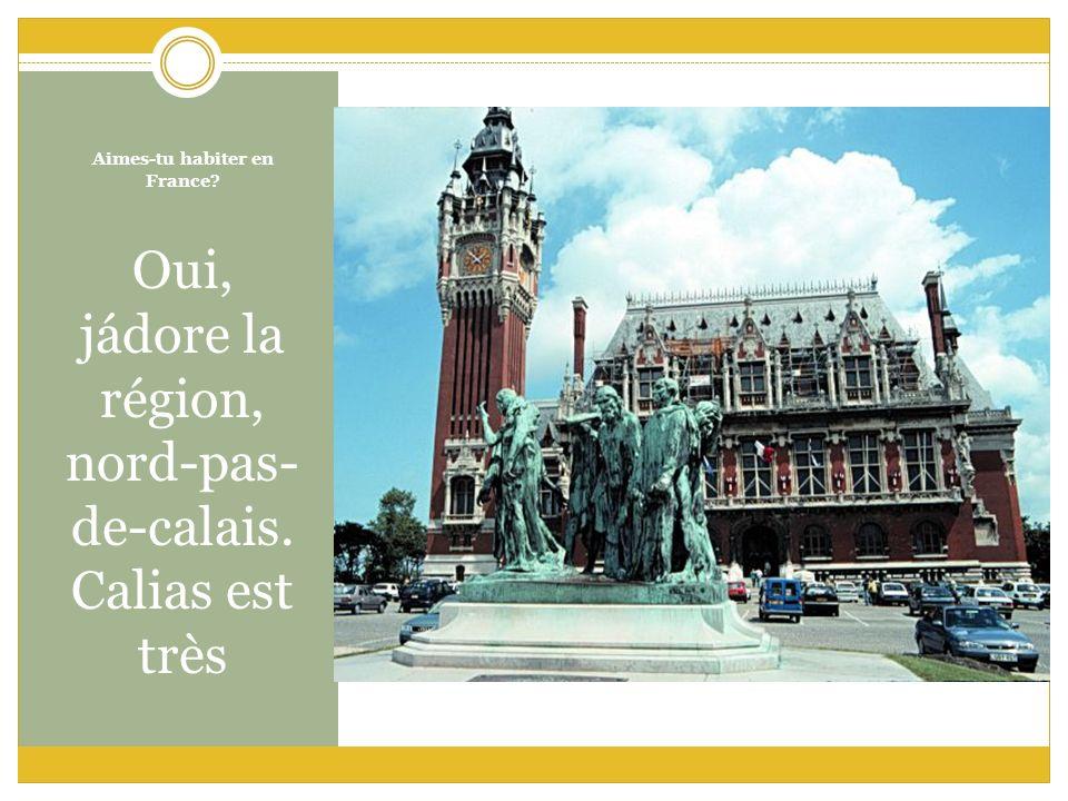 Aimes-tu habiter en France? Oui, jádore la région, nord-pas- de-calais. Calias est très