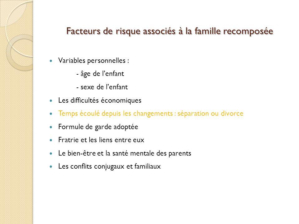 Facteurs de risque associés à la famille recomposée Variables personnelles : - âge de lenfant - sexe de lenfant Les difficultés économiques Temps écou