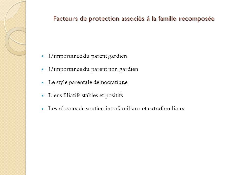 Facteurs de protection associés à la famille recomposée Facteurs de protection associés à la famille recomposée Limportance du parent gardien Limporta