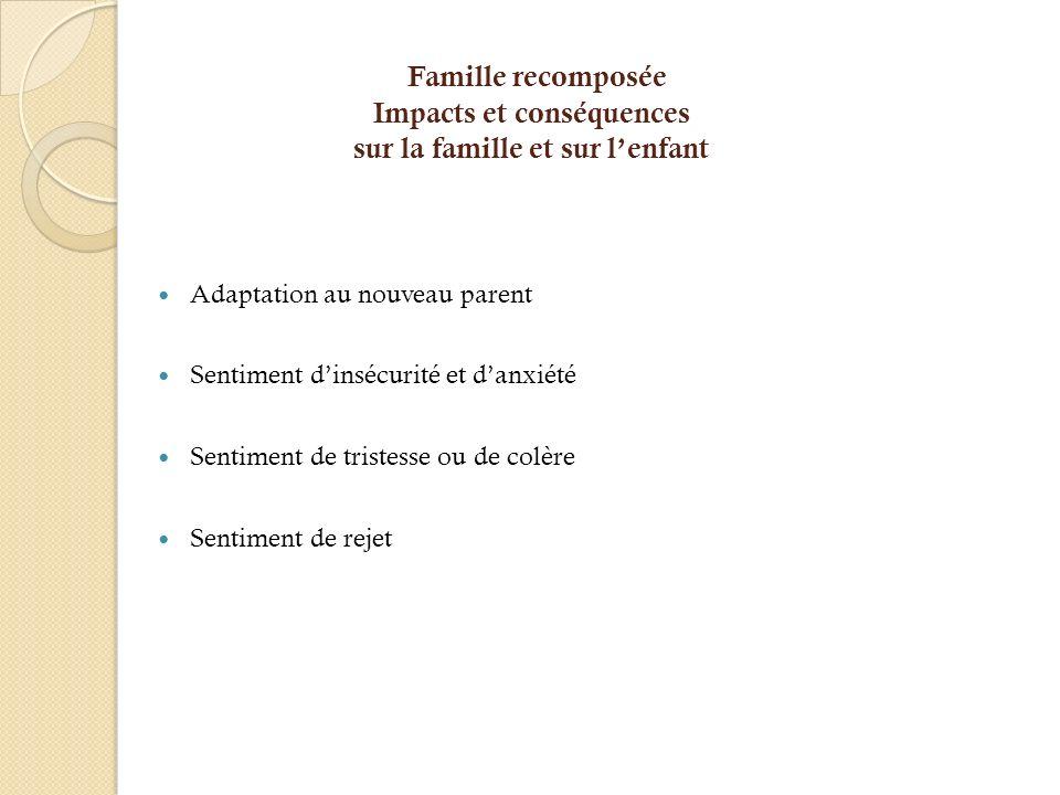 Famille recomposée Impacts et conséquences sur la famille et sur lenfant Adaptation au nouveau parent Sentiment dinsécurité et danxiété Sentiment de t