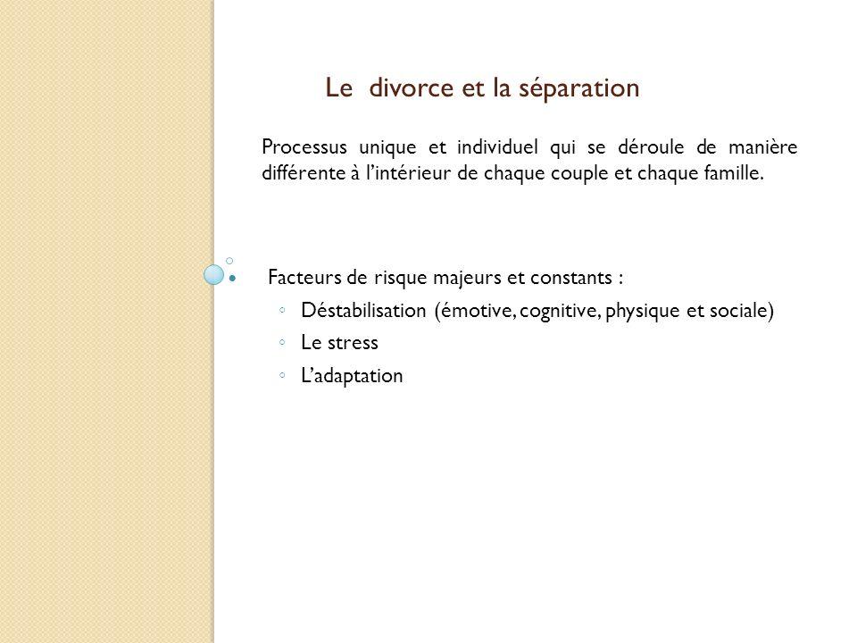 Le divorce et la séparation Processus unique et individuel qui se déroule de manière différente à lintérieur de chaque couple et chaque famille. Facte