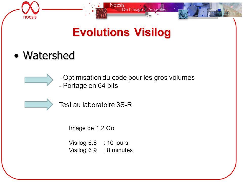 Evolutions Visilog WatershedWatershed - Optimisation du code pour les gros volumes - Portage en 64 bits Test au laboratoire 3S-R Image de 1,2 Go Visil