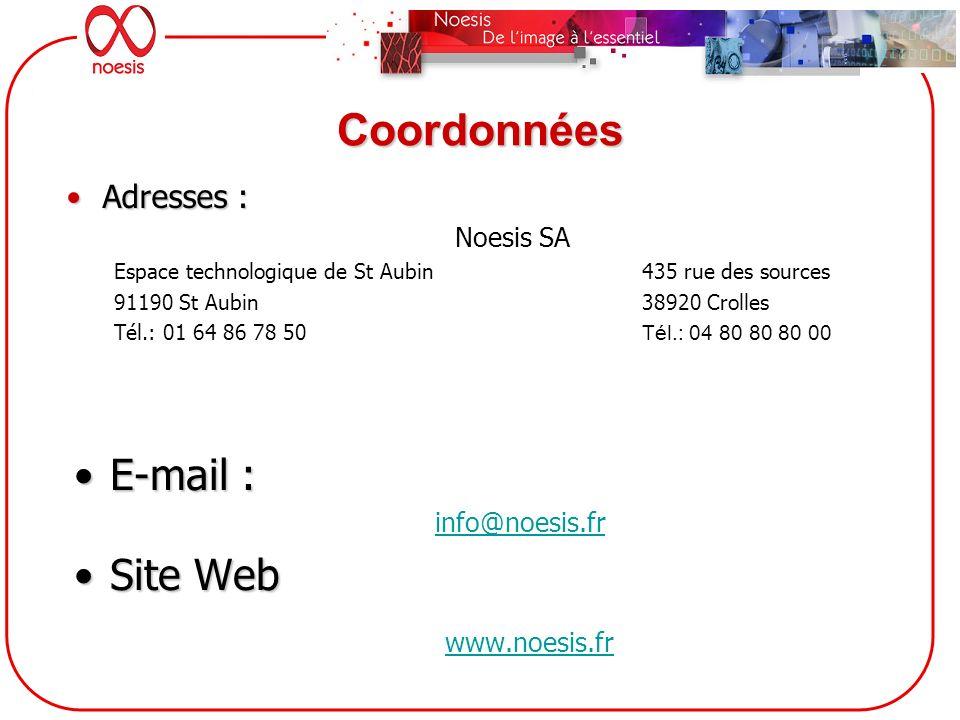 Coordonnées E-mail :E-mail : info@noesis.fr Site WebSite Web www.noesis.fr Adresses :Adresses : Noesis SA Espace technologique de St Aubin 435 rue des
