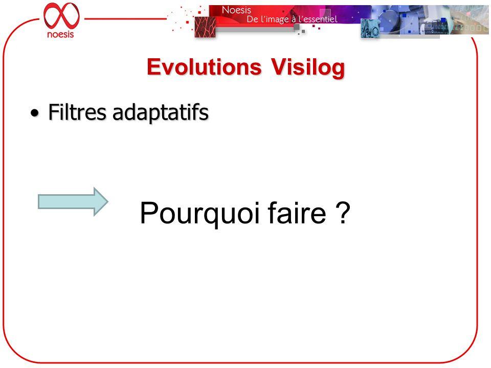 Evolutions Visilog Filtres adaptatifsFiltres adaptatifs Pourquoi faire ?