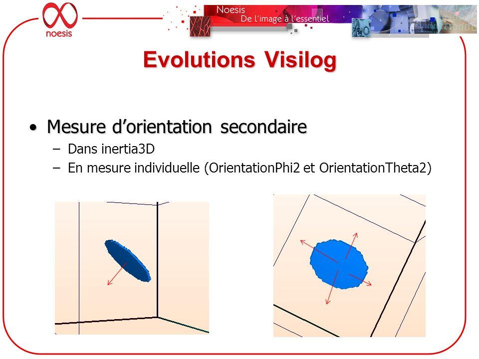 Evolutions Visilog Mesure dorientation secondaireMesure dorientation secondaire –Dans inertia3D –En mesure individuelle (OrientationPhi2 et Orientatio