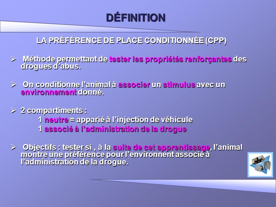 DÉFINITION LA PRÉFÉRENCE DE PLACE CONDITIONNÉE (CPP) Méthode permettant de tester les propriétés renforçantes des drogues dabus. Méthode permettant de