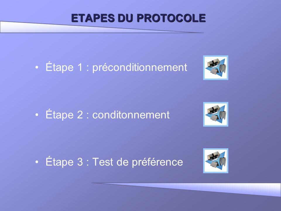 ETAPES DU PROTOCOLE Étape 1 : préconditionnement Étape 2 : conditonnement Étape 3 : Test de préférence