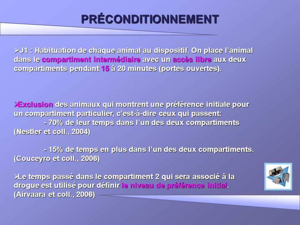 PRÉCONDITIONNEMENT J1 : Habituation de chaque animal au dispositif. On place lanimal dans le compartiment intermédiaire avec un accès libre aux deux c