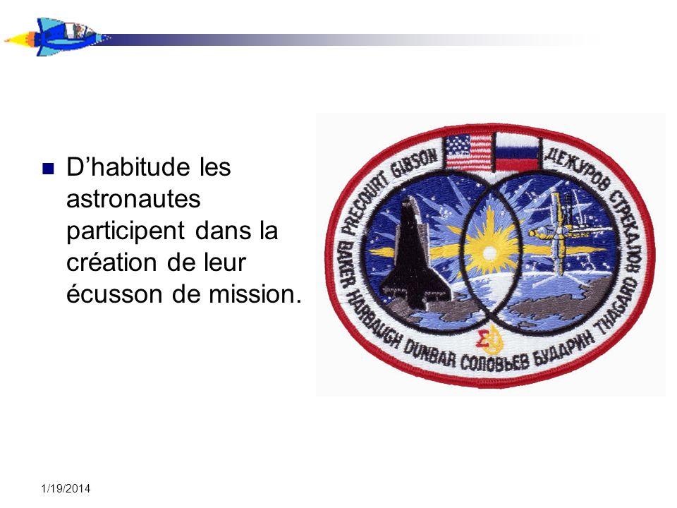 1/19/2014 Dhabitude les astronautes participent dans la création de leur écusson de mission.