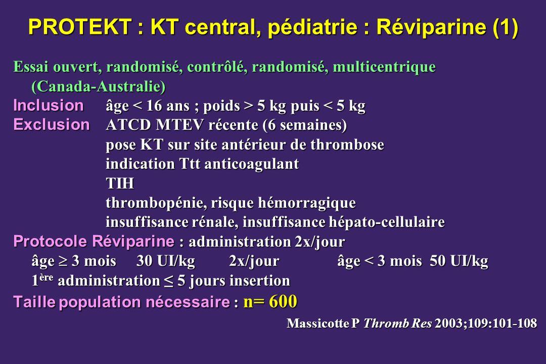PROTEKT : KT central, pédiatrie : Réviparine (1) Essai ouvert, randomisé, contrôlé, randomisé, multicentrique (Canada-Australie) Inclusion âge 5 kg pu