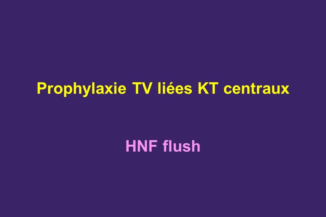 Prophylaxie TV liées KT centraux HNF flush