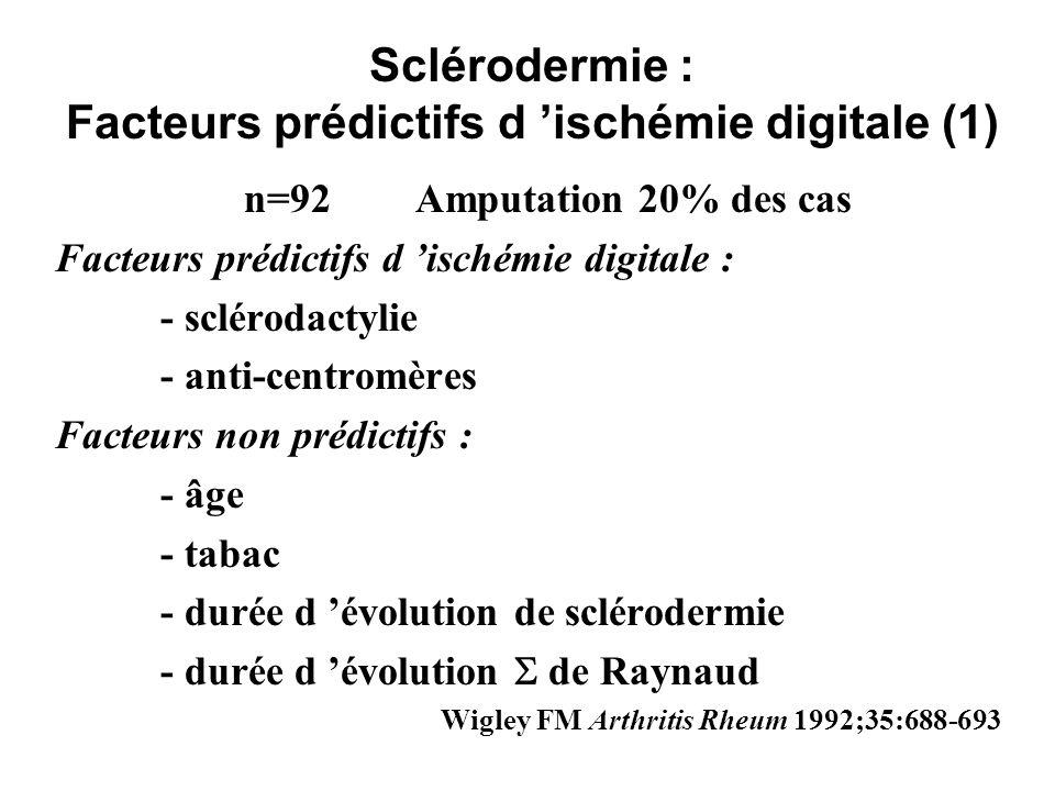 Sclérodermie : Facteurs prédictifs d ischémie digitale (1) n=92Amputation 20% des cas Facteurs prédictifs d ischémie digitale : - sclérodactylie - ant