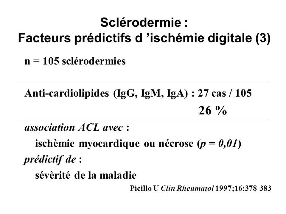 Sclérodermie : Facteurs prédictifs d ischémie digitale (3) n = 105 sclérodermies Anti-cardiolipides (IgG, IgM, IgA) : 27 cas / 105 26 % association AC