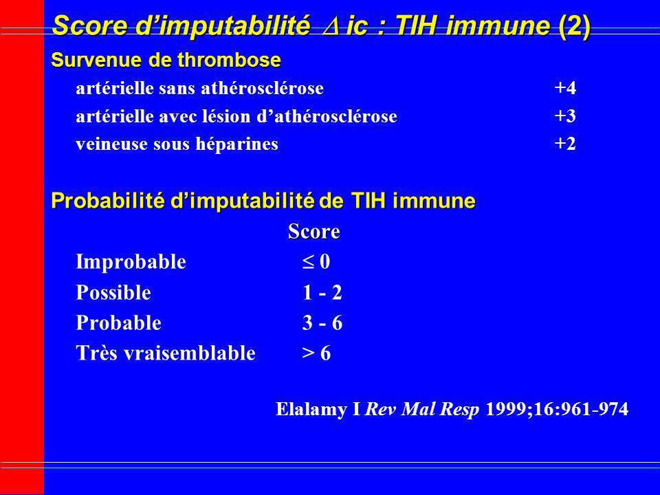 Score dimputabilité ic : TIH immune (2) Survenue de thrombose artérielle sans athérosclérose+4 artérielle avec lésion dathérosclérose+3 veineuse sous