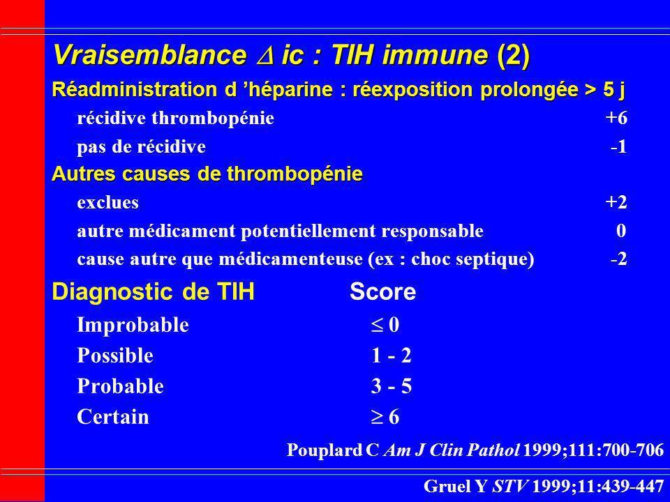 Vraisemblance ic : TIH immune (2) Réadministration d héparine : réexposition prolongée > 5 j récidive thrombopénie +6 pas de récidive -1 Autres causes