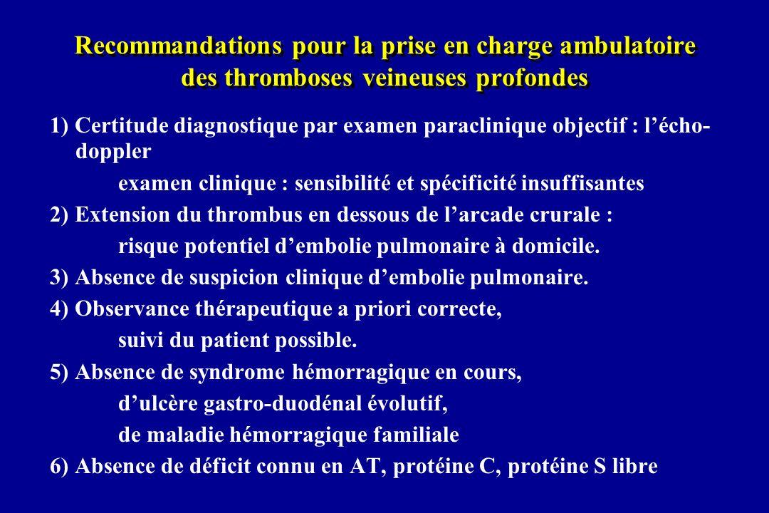 Recommandations pour la prise en charge ambulatoire des thromboses veineuses profondes 1) Certitude diagnostique par examen paraclinique objectif : lé