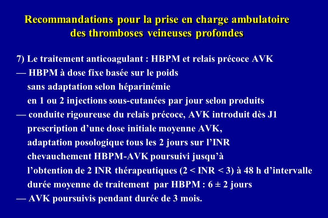 7) Le traitement anticoagulant : HBPM et relais précoce AVK HBPM à dose fixe basée sur le poids sans adaptation selon héparinémie en 1 ou 2 injections