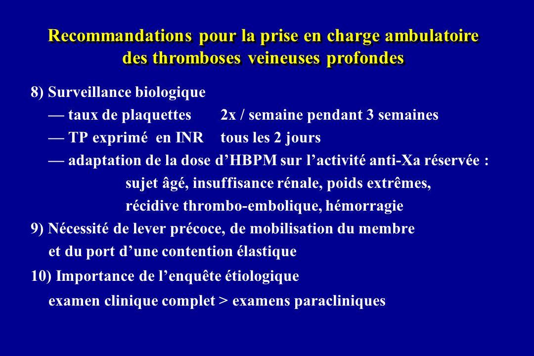 8) Surveillance biologique taux de plaquettes 2x / semaine pendant 3 semaines TP exprimé en INR tous les 2 jours adaptation de la dose dHBPM sur lacti