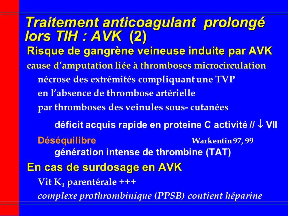 Traitement anticoagulant prolongé lors TIH : AVK (1) Relais AVK débuté si Relais AVK débuté si : patient stable sans récidive TE réponse adéquate au T