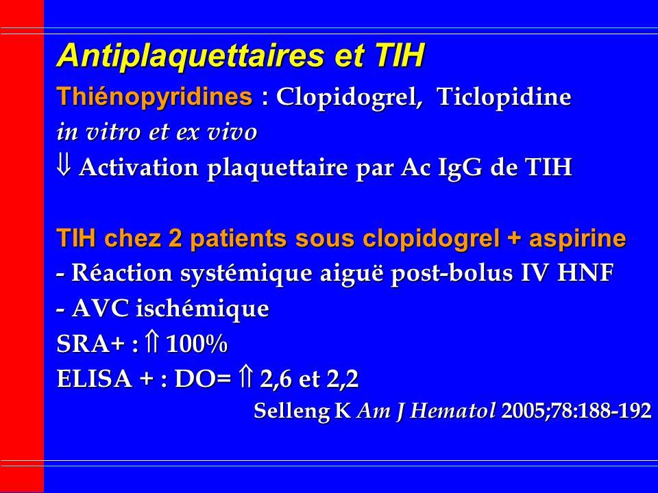 Traitements adjuvants TIH (2) Antiplaquettaires Antiplaquettaires : haut risque de TE artérielle Infarctus surrénalien hémorragique par TV surrénalien