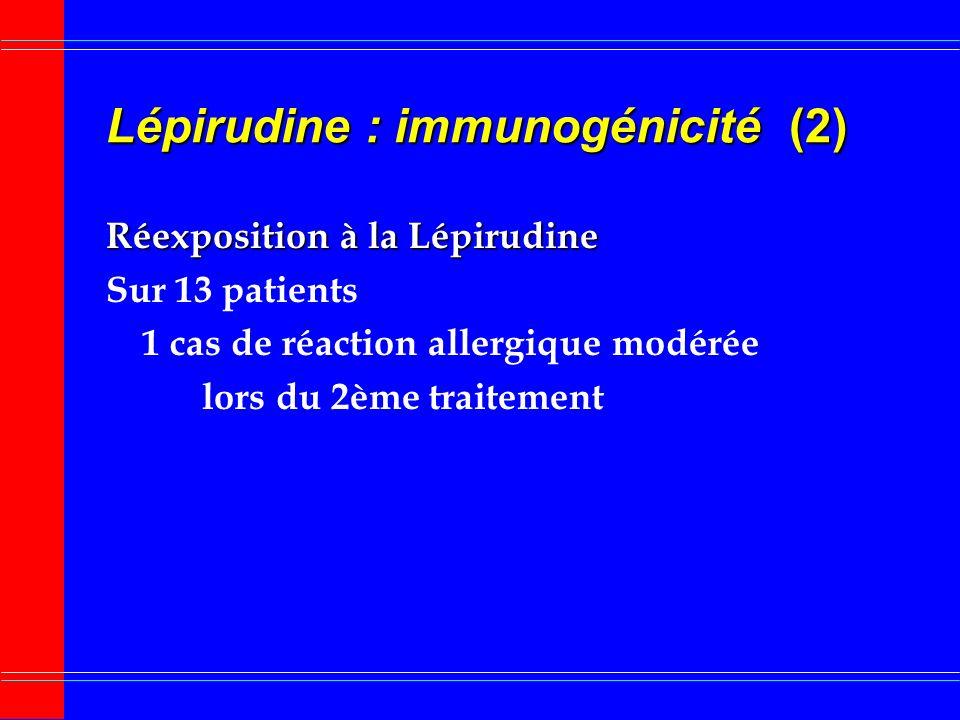 Lépirudine : immunogénicité (1) Xénoprotéine Xénoprotéine issue de la Sangsue Production danticorps anti-hirudine 40 % cas AC dIsotype IgG non neutral