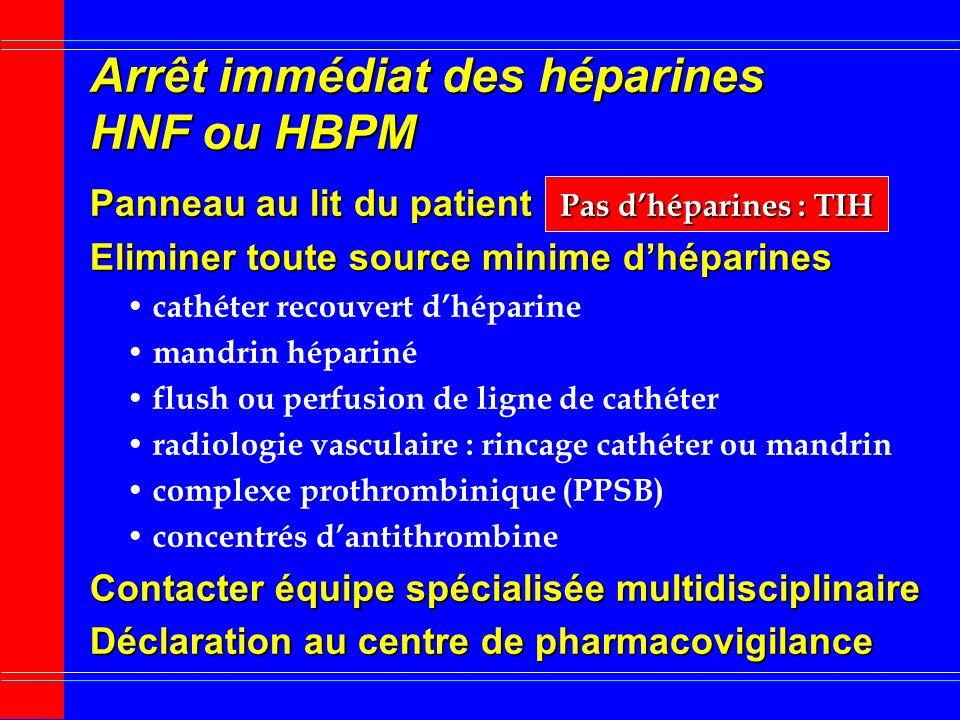Traitement préventif TIH Durée exposition Héparines < 5 j Relais précoce AVK préférer HBPM plutôt HNF Surveillance numération plaquettaire avant hépar