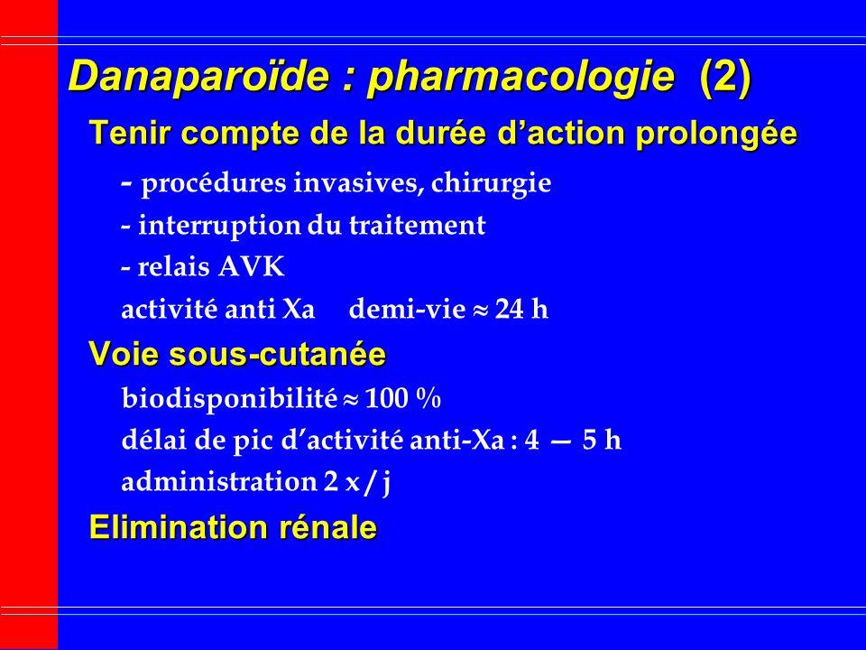 Danaparoïde : pharmacologie (1) Mélange de glycosaminoglycannes dorigine porcine Héparane sulfate 84 % Dermatane sulfate 12 % Chondroïtine sulfate 4 %