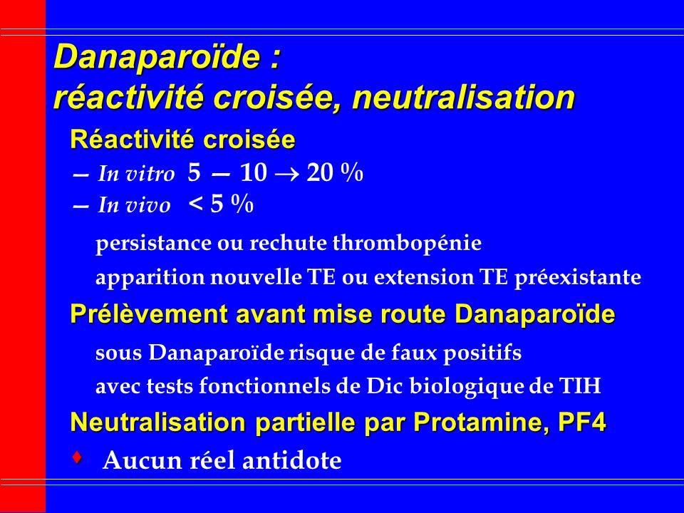 Danaparoïde : surveillance biologique TCA, TCK, TP, TT TCA, TCK, TP, TT : aucun intérêt Activité anti-facteur Xa Activité anti-facteur Xa substrat chr